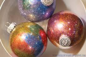 glitter galaxy ornament diy