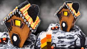 gingerbread haunted house cake with candy corn cake layers for