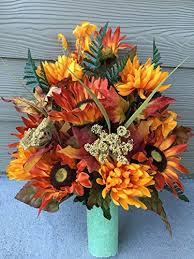 cemetery flower arrangements fall cemetery vase flowers fall spider lilies and