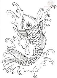 koi outline designs leather work coy fish