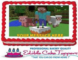 minecraft edible cake topper minecraft custom edible cake topper edible kustomtoppers