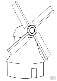 simple windmill coloring page free printable coloring pages