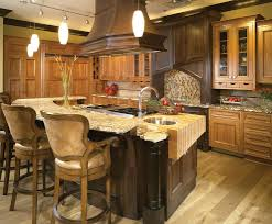 mixed wood kitchen southwestern with two islands incandescent