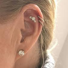 diamond cartilage piercing diamond flower garland threaded stud helix helix jewelry