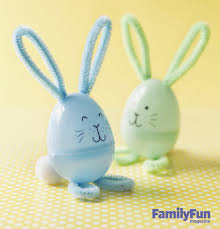 easter kids craft pipe cleaner plastic egg bunnies