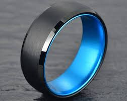mens blue wedding bands blue tungsten ring etsy