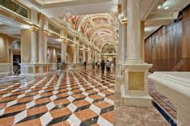 luxury classic colonnade corridor with marble floor and curved