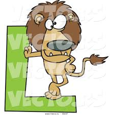 vector of a cartoon lion leaning against alphabet letter l by