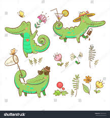 cartoon crocodiles set summer time butterflies stock vector