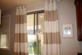 Brown And White Striped Curtains And White Striped Drapes Can Also Use As A Shower Curtain