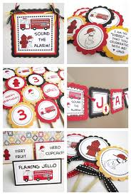 firefighter cupcake toppers dalmatian favor tags for firehouse firefighter and truck