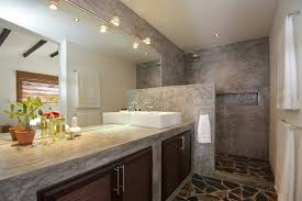 bathroom interior ideas concrete vanity unit mediterranean style bathroom interior