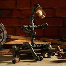 rustic robot industrial pipe lamp apollobox