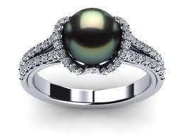 necklace pearls ribbon images 14k white gold diamond black green tahitian pearl ribbon ring jpg