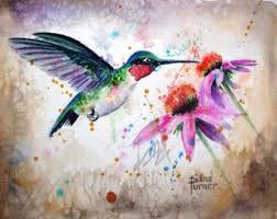 Ruby throated Watercolor Hummingbird Original by Dianamturnerart