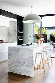fancy kitchen islands marble waterfall countertop on this kitchen island image via