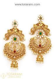 chandbali earrings chandbali earrings temple jewellery 22k gold peacock drop