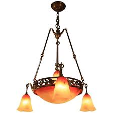 Orange Glass Chandelier French Art Nouveau Bronze And Art Glass Chandelier By Charles