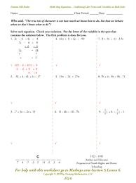 solving equations with variables on both sides worksheet worksheets