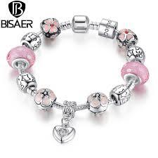 heart pendant bracelet images Silver charm bracelet with heart pendant cherry blossom charm jpg