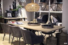 modern rustic dining room dark wooden table white chairs black