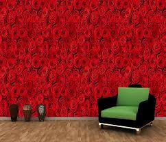 wallpaper flower red rose red rose flowers wall mural decor photo wallpaper