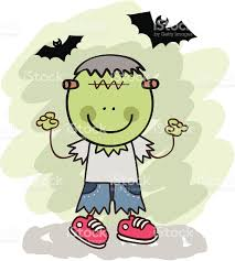 Boys Frankenstein Halloween Costume Kid Frankenstein Halloween Costume Cartoon Illustration Stock
