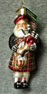 blown glass highland santa in kilt bagpipe world