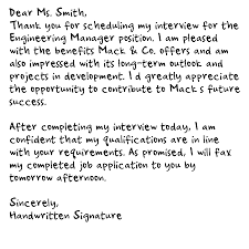 Thank You Letter After Job Interview Executive Assistant Thank You Letter After Interview Handwritten Shishita World Com