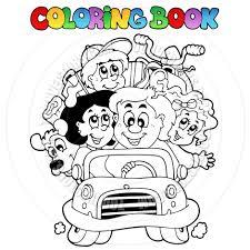 cartoon coloring book family car clairev toon vectors eps