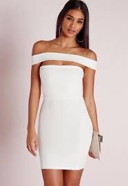 white bodycon dress cut out panel bardot bodycon dress white missguided