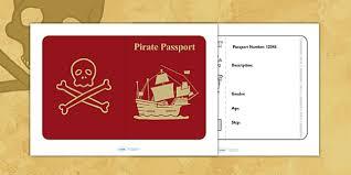 pirate passport pirates writing frame writing template