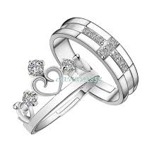 couple promise rings images My prince princess queen silver couple rings wedding band his her jpg