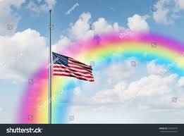 Flying The Flag At Half Staff Half Mast American Flag Hope Rainbow Stock Illustration 726290737