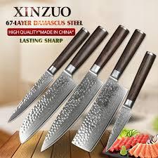 kitchen knive set xinzuo 5 pcs kitchen knives set japanese damascus stainless steel