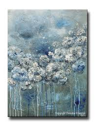 Contemporary Art Home Decor Giclee Print Art Abstract Blue White Flower Painting Canvas Print