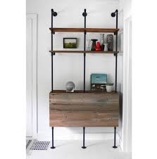 Building Wood Shelf Unit by Reclaimed Wood U0026 Pipe Shelving Unit Mid Century Modern Metal