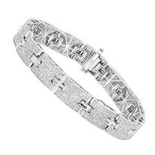 sterling silver bracelet with diamond images Sterling silver bracelets mens diamond bracelet 3 5 ct jpg