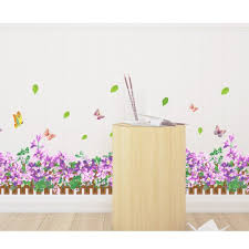 beautiful purple flowers and butterfly skirting wall decals murals beautiful purple flowers and butterfly skirting wall decals murals home art decor peel stick wall stickers for wall corner kids in wall stickers from home