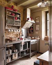 kitchen inspiring decorate rustic with brick stone wall also shelf