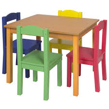 kids wooden table set w 4 chairs multicolor u2013 best choice products