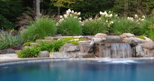 Waterfall Landscaping Ideas Stupendous Waterfall From Spa Into Then Swimming S Archives Clc