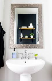 Powder Room Makeovers Photos - modern powder room makeover on a budget with black walls and a