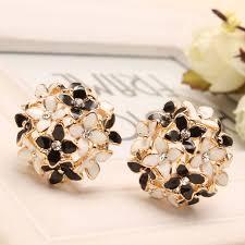 womens stud earrings pink blue flower four leaf stud earrings clove designer new 2015