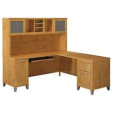 Bush Desks With Hutch Bush Furniture Somerset L Shaped Desk With Hutch 71 W Maple Cross