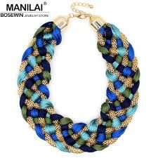 big necklace images Manilai fashion weaved handmade big necklace chunky chain women jpg