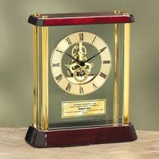 Personalized Anniversary Clock Amazon Com Table Wood Desk Clock Enclosed Glass Brass Pillars