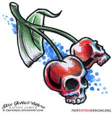 cherry skull and little star tattoos for women real photo