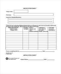 9 medication sheet templates free sample example format