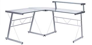 bureau en verre blanc bureau angle design bureau duangle design en verre blanc with